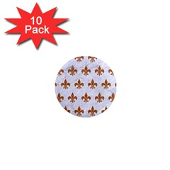 Royal1 White Marble & Rusted Metal 1  Mini Magnet (10 Pack)  by trendistuff