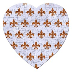 Royal1 White Marble & Rusted Metal Jigsaw Puzzle (heart) by trendistuff
