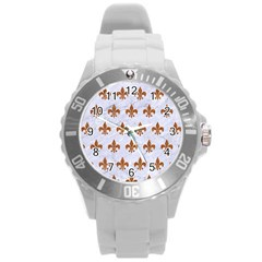Royal1 White Marble & Rusted Metal Round Plastic Sport Watch (l) by trendistuff