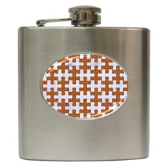 Puzzle1 White Marble & Rusted Metal Hip Flask (6 Oz) by trendistuff