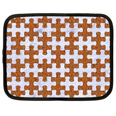 Puzzle1 White Marble & Rusted Metal Netbook Case (large) by trendistuff