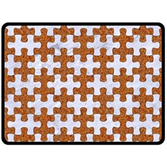 Puzzle1 White Marble & Rusted Metal Double Sided Fleece Blanket (large)  by trendistuff