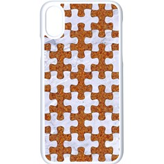 Puzzle1 White Marble & Rusted Metal Apple Iphone X Seamless Case (white)