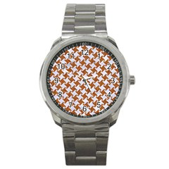Houndstooth2 White Marble & Rusted Metal Sport Metal Watch by trendistuff