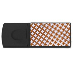 Houndstooth2 White Marble & Rusted Metal Rectangular Usb Flash Drive by trendistuff
