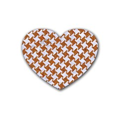Houndstooth2 White Marble & Rusted Metal Heart Coaster (4 Pack)  by trendistuff