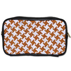Houndstooth2 White Marble & Rusted Metal Toiletries Bags 2 Side by trendistuff