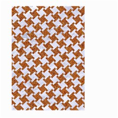 Houndstooth2 White Marble & Rusted Metal Large Garden Flag (two Sides) by trendistuff