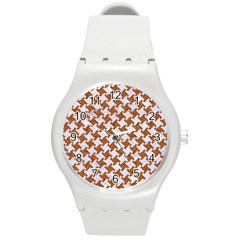 Houndstooth2 White Marble & Rusted Metal Round Plastic Sport Watch (m) by trendistuff