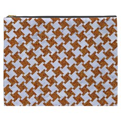 Houndstooth2 White Marble & Rusted Metal Cosmetic Bag (xxxl)  by trendistuff