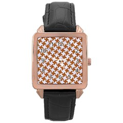 Houndstooth2 White Marble & Rusted Metal Rose Gold Leather Watch  by trendistuff