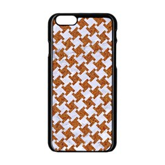 Houndstooth2 White Marble & Rusted Metal Apple Iphone 6/6s Black Enamel Case by trendistuff