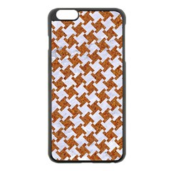 Houndstooth2 White Marble & Rusted Metal Apple Iphone 6 Plus/6s Plus Black Enamel Case by trendistuff