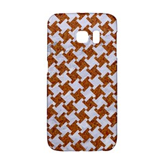 Houndstooth2 White Marble & Rusted Metal Galaxy S6 Edge by trendistuff