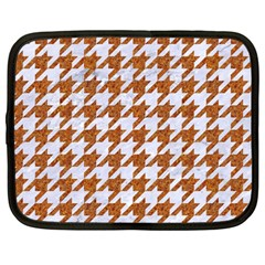 Houndstooth1 White Marble & Rusted Metal Netbook Case (large) by trendistuff