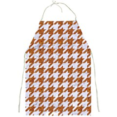 Houndstooth1 White Marble & Rusted Metal Full Print Aprons by trendistuff