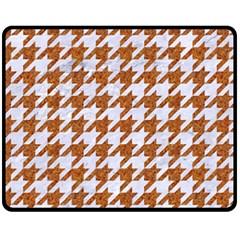 Houndstooth1 White Marble & Rusted Metal Fleece Blanket (medium)  by trendistuff
