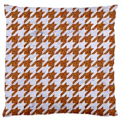 Houndstooth1 White Marble & Rusted Metal Large Cushion Case (two Sides) by trendistuff