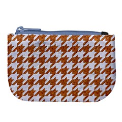 Houndstooth1 White Marble & Rusted Metal Large Coin Purse by trendistuff