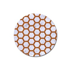 Hexagon2 White Marble & Rusted Metal (r) Magnet 3  (round) by trendistuff