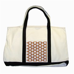 Hexagon2 White Marble & Rusted Metal (r) Two Tone Tote Bag by trendistuff