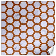 Hexagon2 White Marble & Rusted Metal (r) Canvas 12  X 12   by trendistuff