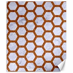 Hexagon2 White Marble & Rusted Metal (r) Canvas 20  X 24   by trendistuff
