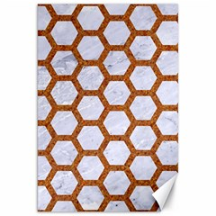 Hexagon2 White Marble & Rusted Metal (r) Canvas 20  X 30   by trendistuff