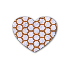 Hexagon2 White Marble & Rusted Metal (r) Heart Coaster (4 Pack)  by trendistuff