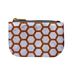 Hexagon2 White Marble & Rusted Metal (r) Mini Coin Purses by trendistuff