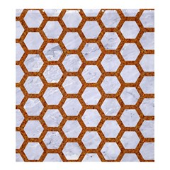 Hexagon2 White Marble & Rusted Metal (r) Shower Curtain 66  X 72  (large)  by trendistuff