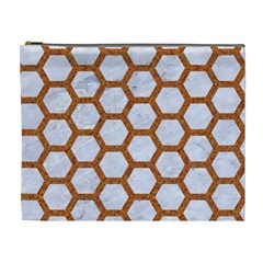 Hexagon2 White Marble & Rusted Metal (r) Cosmetic Bag (xl) by trendistuff