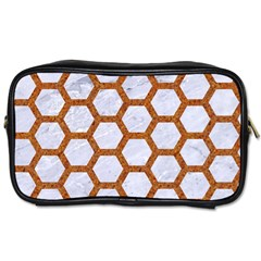 Hexagon2 White Marble & Rusted Metal (r) Toiletries Bags 2 Side by trendistuff