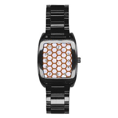 Hexagon2 White Marble & Rusted Metal (r) Stainless Steel Barrel Watch by trendistuff