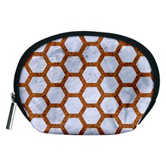 Hexagon2 White Marble & Rusted Metal (r) Accessory Pouches (medium)  by trendistuff