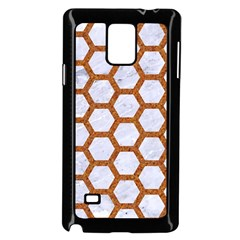 Hexagon2 White Marble & Rusted Metal (r) Samsung Galaxy Note 4 Case (black) by trendistuff