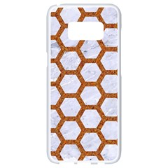 Hexagon2 White Marble & Rusted Metal (r) Samsung Galaxy S8 White Seamless Case by trendistuff