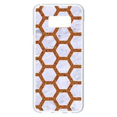 Hexagon2 White Marble & Rusted Metal (r) Samsung Galaxy S8 Plus White Seamless Case by trendistuff