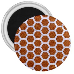 Hexagon2 White Marble & Rusted Metal 3  Magnets by trendistuff