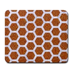 Hexagon2 White Marble & Rusted Metal Large Mousepads by trendistuff
