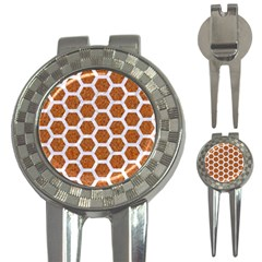 Hexagon2 White Marble & Rusted Metal 3 In 1 Golf Divots by trendistuff