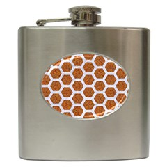 Hexagon2 White Marble & Rusted Metal Hip Flask (6 Oz) by trendistuff