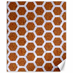 Hexagon2 White Marble & Rusted Metal Canvas 8  X 10  by trendistuff