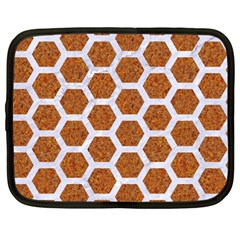 Hexagon2 White Marble & Rusted Metal Netbook Case (large) by trendistuff