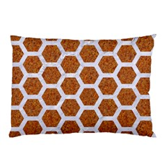 Hexagon2 White Marble & Rusted Metal Pillow Case by trendistuff