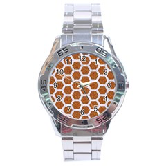 Hexagon2 White Marble & Rusted Metal Stainless Steel Analogue Watch by trendistuff