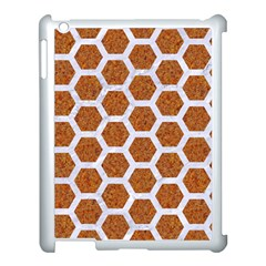 Hexagon2 White Marble & Rusted Metal Apple Ipad 3/4 Case (white) by trendistuff