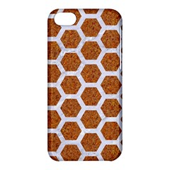Hexagon2 White Marble & Rusted Metal Apple Iphone 5c Hardshell Case by trendistuff