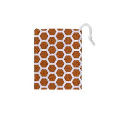 Hexagon2 White Marble & Rusted Metal Drawstring Pouches (xs)  by trendistuff