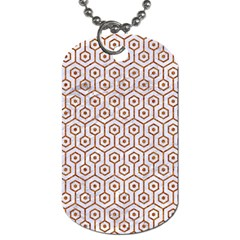 Hexagon1 White Marble & Rusted Metal (r) Dog Tag (two Sides) by trendistuff